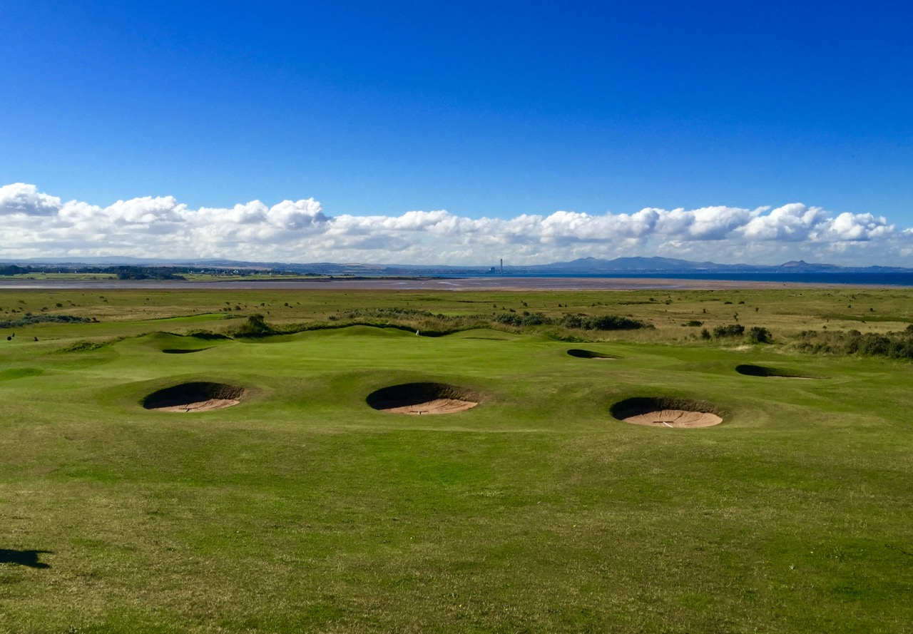 Revetted pot bunkers at Gullane